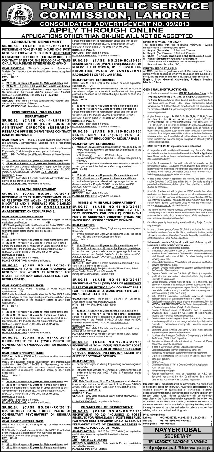 Punjab Public Service Commission Jobs Required