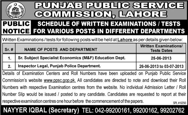 Punjab Public Service Commission Jobs for Economist, Legal & Police