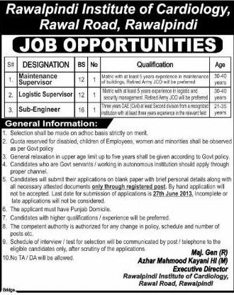 RIC Jobs for Supervisor & Sub Engineer in Rawalpindi