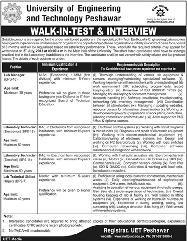 UET Peshawar Jobs for Manager, Lab Assistant & Technician