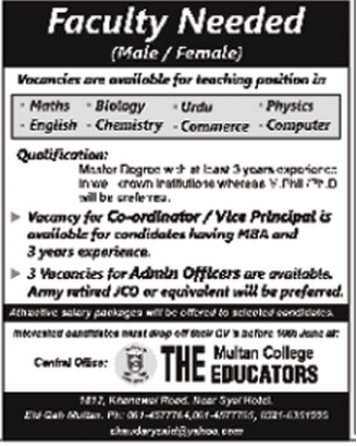 Vice Principal & Admin Officer Jobs in The Educators Multan College
