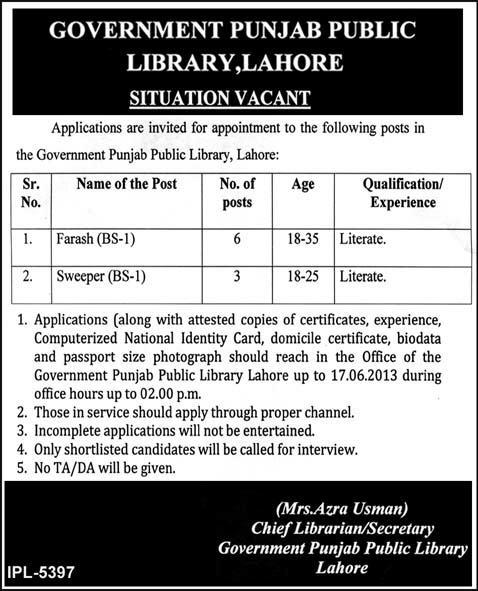 Workers Required in Govt. of Punjab Public Library, Lahore