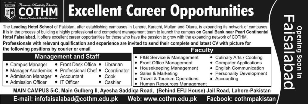 COTHM Faisalabad Jobs for Manager, Accountant & Admission Officer