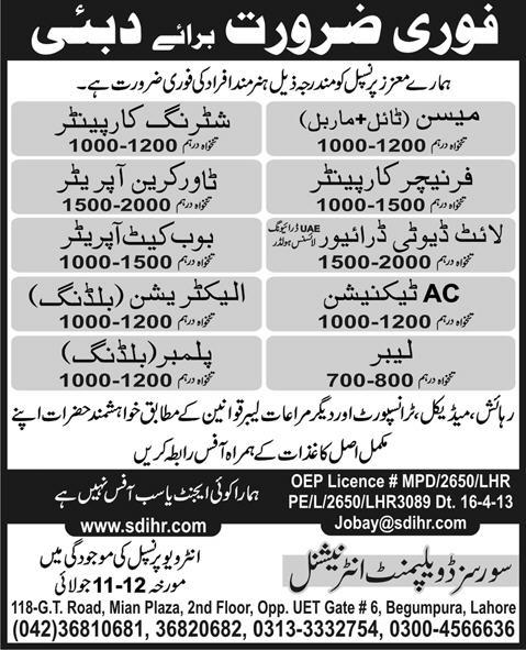Dubai Jobs for Electrician & AC Technician