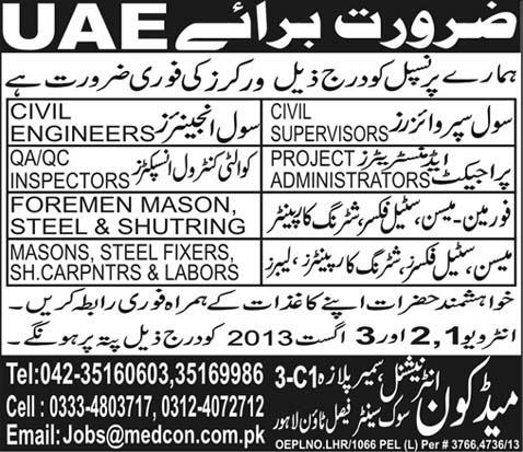 Dubai Jobs for Supervisor, Engineer & QC Inspector