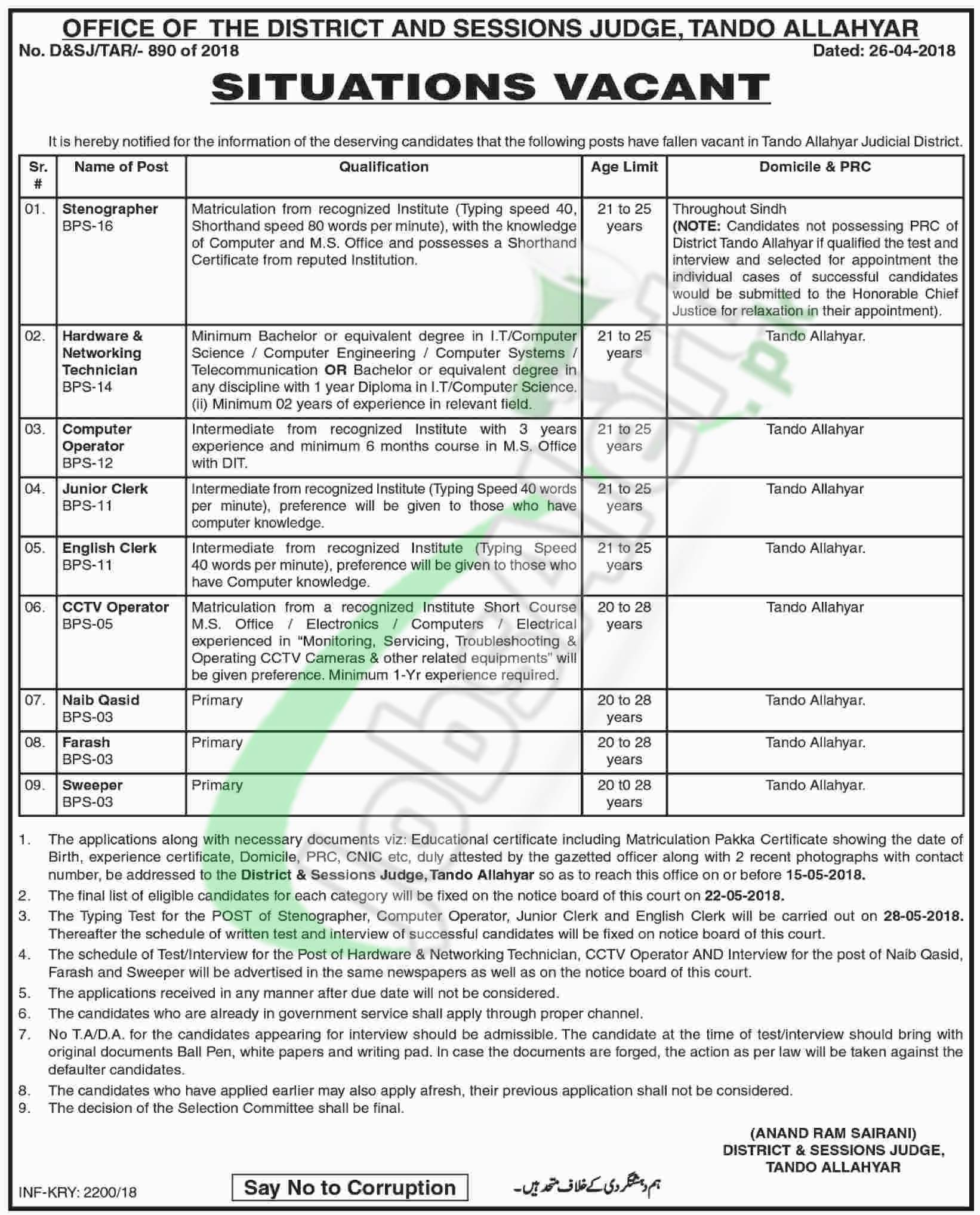 District Session Judge Tando Allahyar Jobs