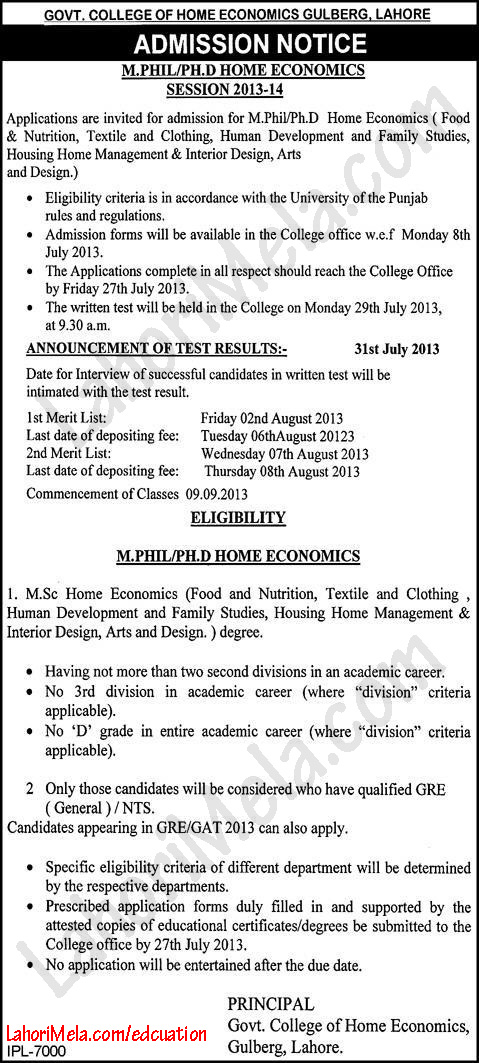 Govt. College of Home Economics Lahore Admissions Open 2013