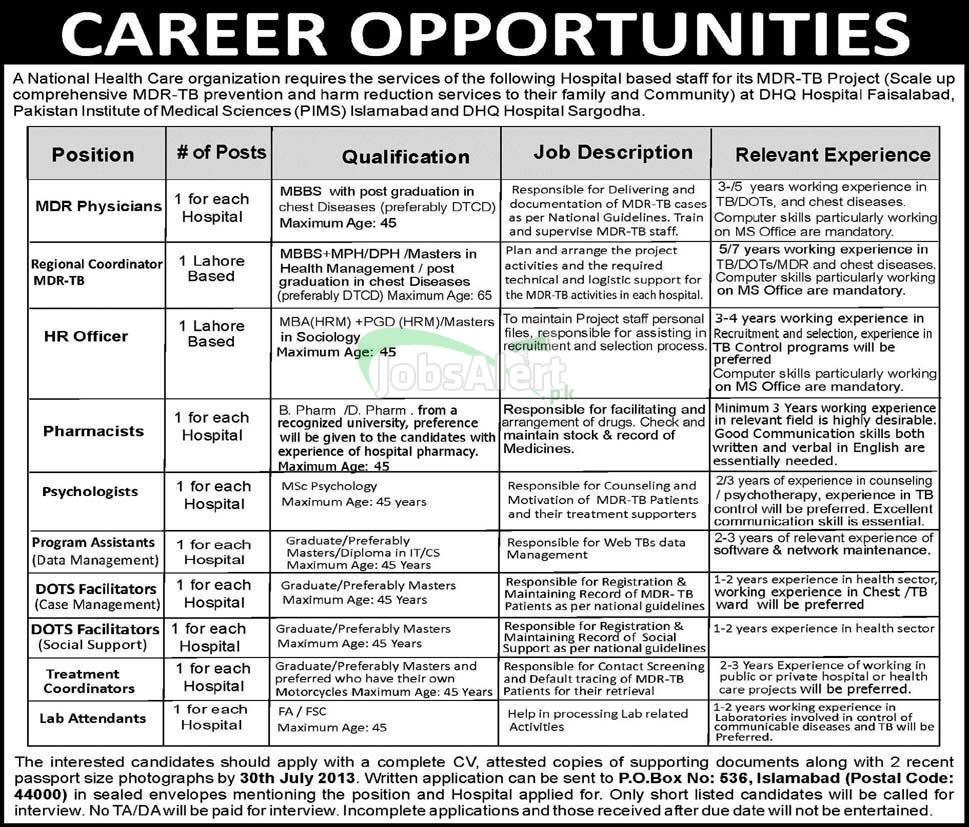 Jobs Required for National Health Care Organization Sargodha