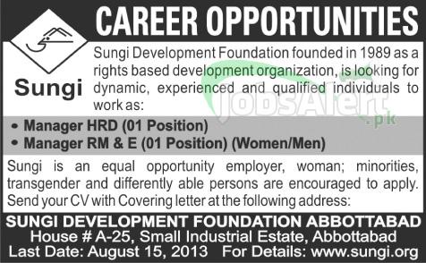 Manager HRD Jobs in Sungi Development Foundation Abbottabad