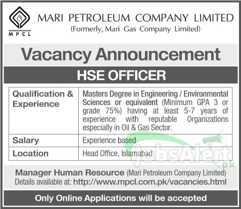 Mari Petroleum Co. Ltd. Jobs for HSE Officer in Islamabad