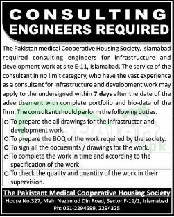 Pakistan Medical Cooperative Housing Society Jobs for Consulting Engineers