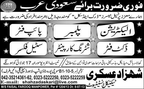 Saudi Arabia Jobs for Electrician & Plumber