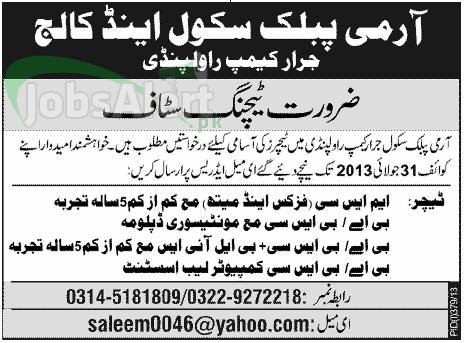 Teacher Jobs in Army Public School & College Rawalpindi