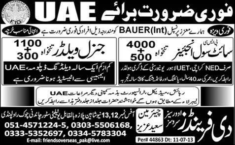 UAE Jobs Required for Site Civil Engineer & General Welder