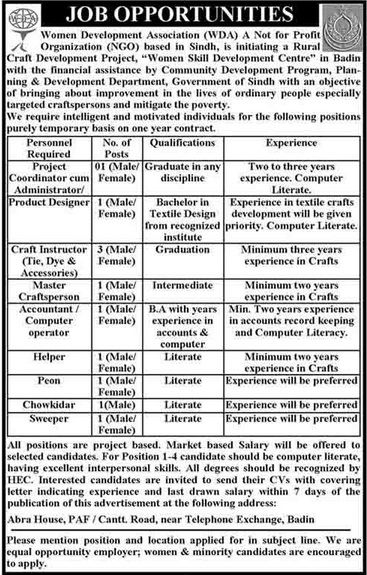 WDA Jobs Required for Project Coordinator, Product Designer & Instructor