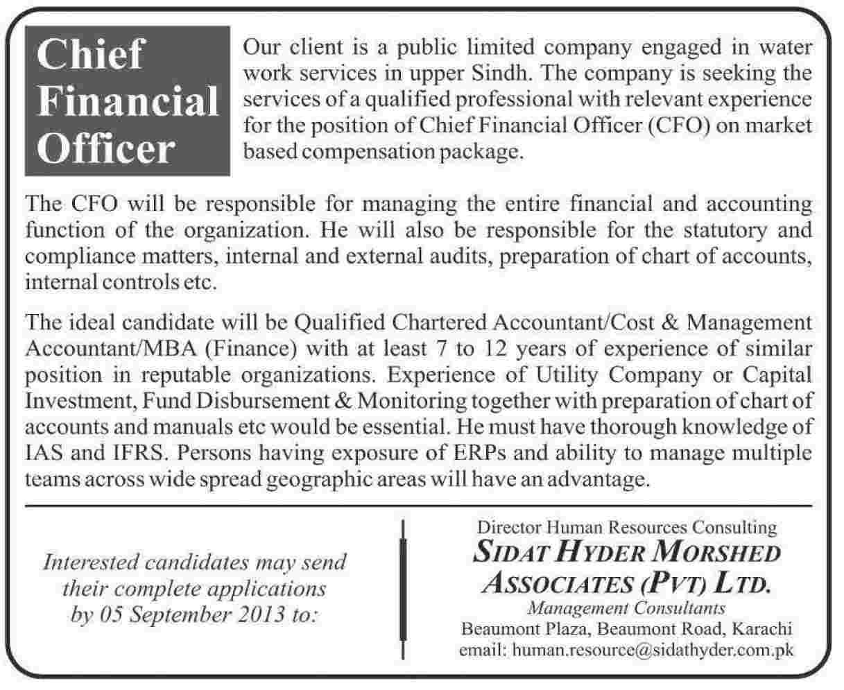 Financial Officer Jobs in Sidat Hyder Morshed Associates Karachi