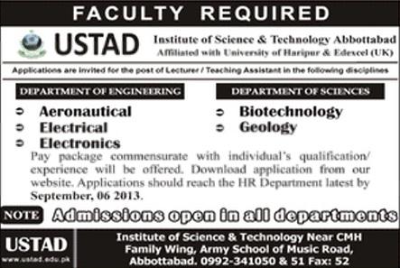 Faculty Jobs in USTAD Institute Abbottabad