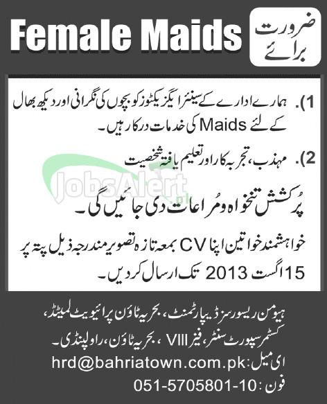 Jobs in Bahria Town for Female Maids - Rawalpindi