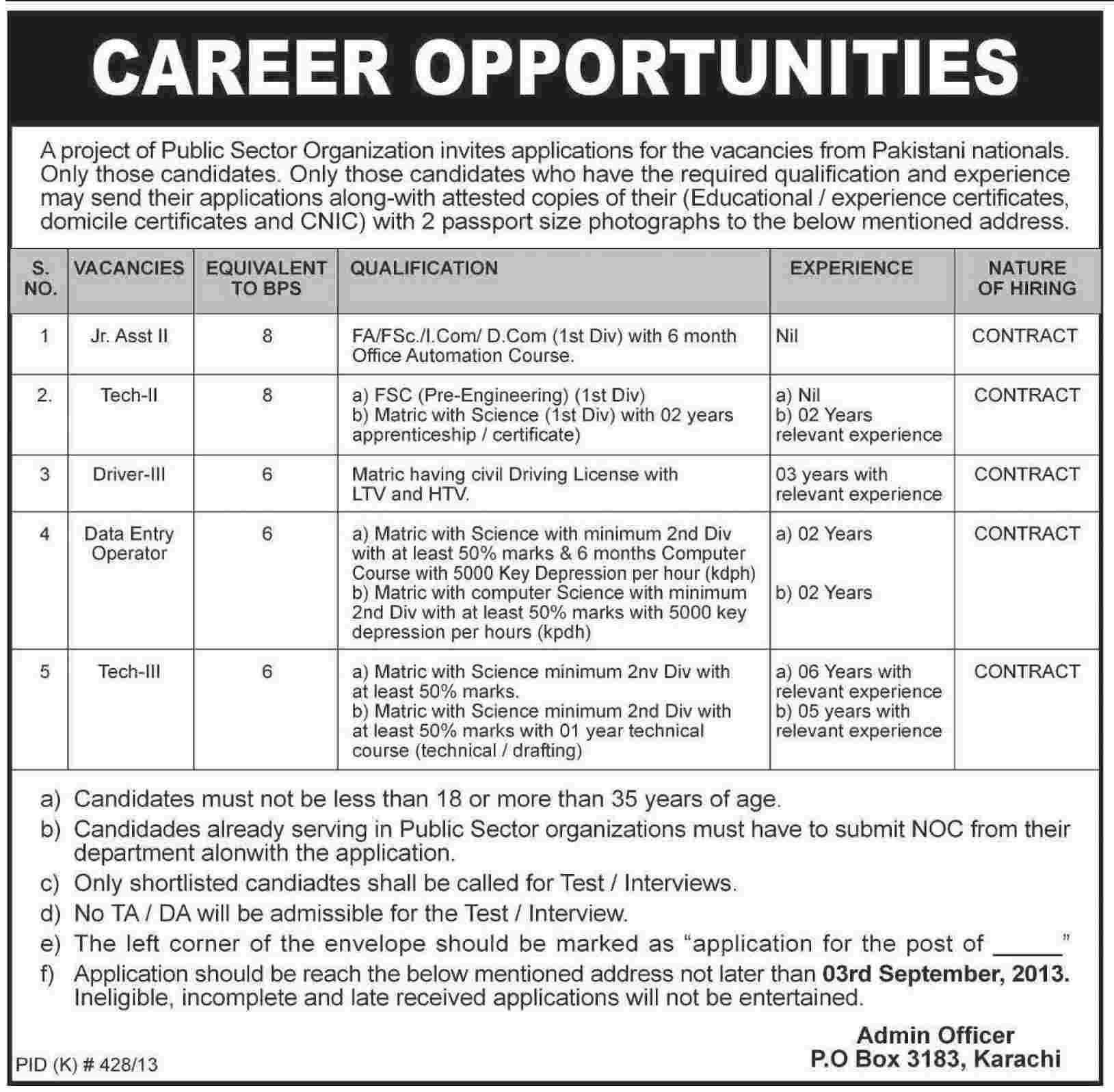 Junior Assistant and Technical Jobs in Public Sector Karachi