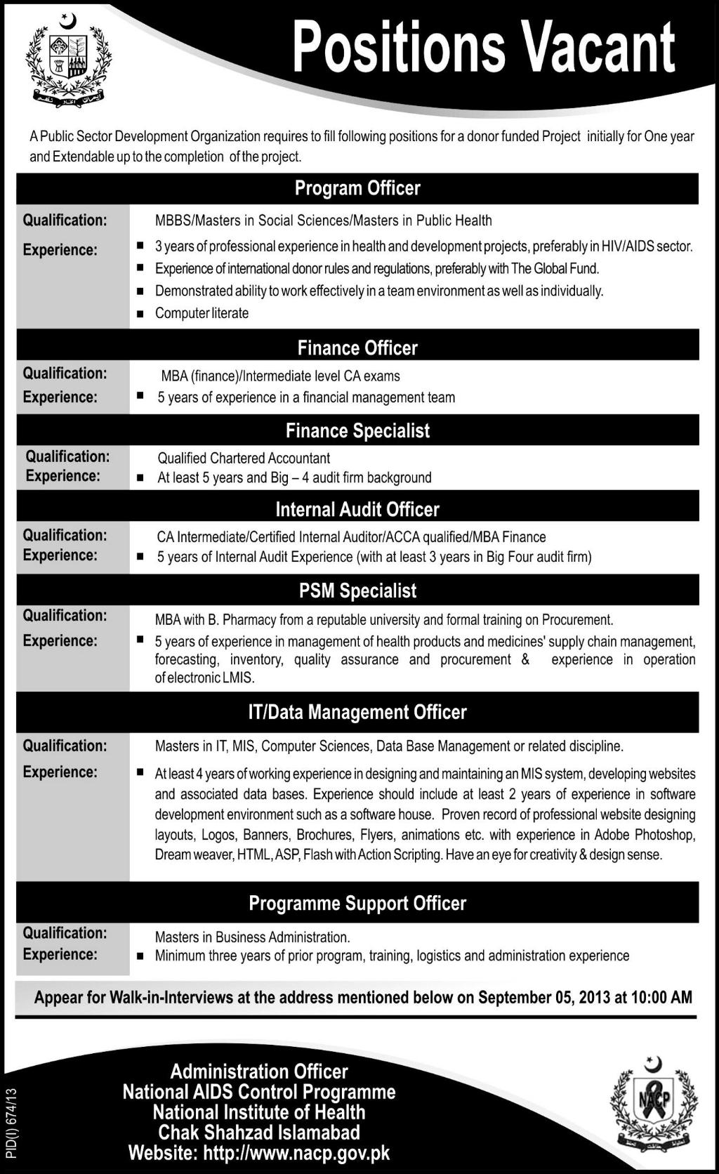 National AIDS Control Programme National Institute of Health Jobs Required Islamabad