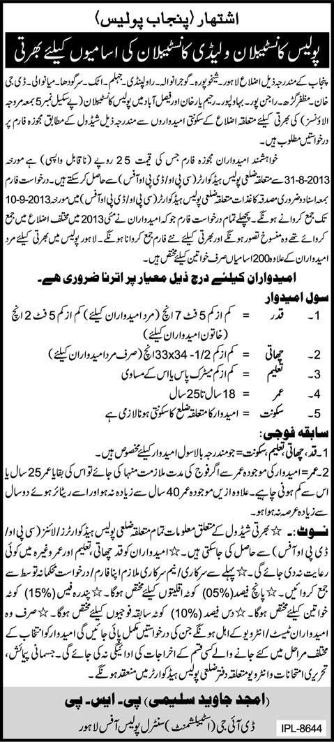 Punjab Police Jobs for Constable and Lady Constable
