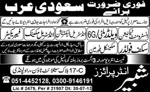 Saudi Arabia Jobs for Technician, Electrician & Fabricator