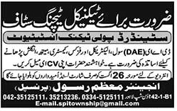 Technical Teaching Jobs staff required In Lahore