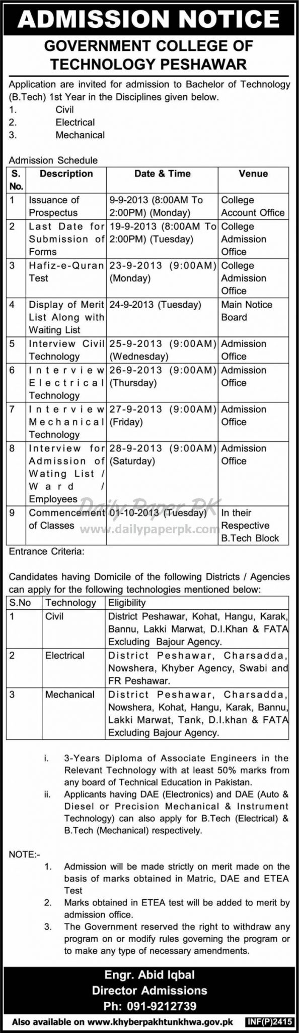 Admission Open In Government College of Technology Peshawar