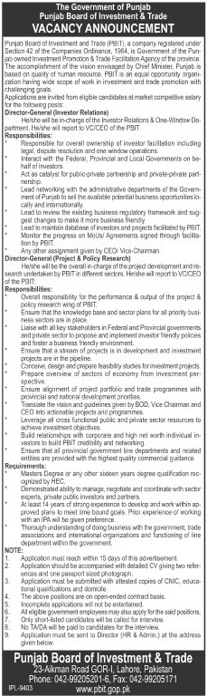 Director General Jobs in Punjab Board of Investment & Trade Lahore