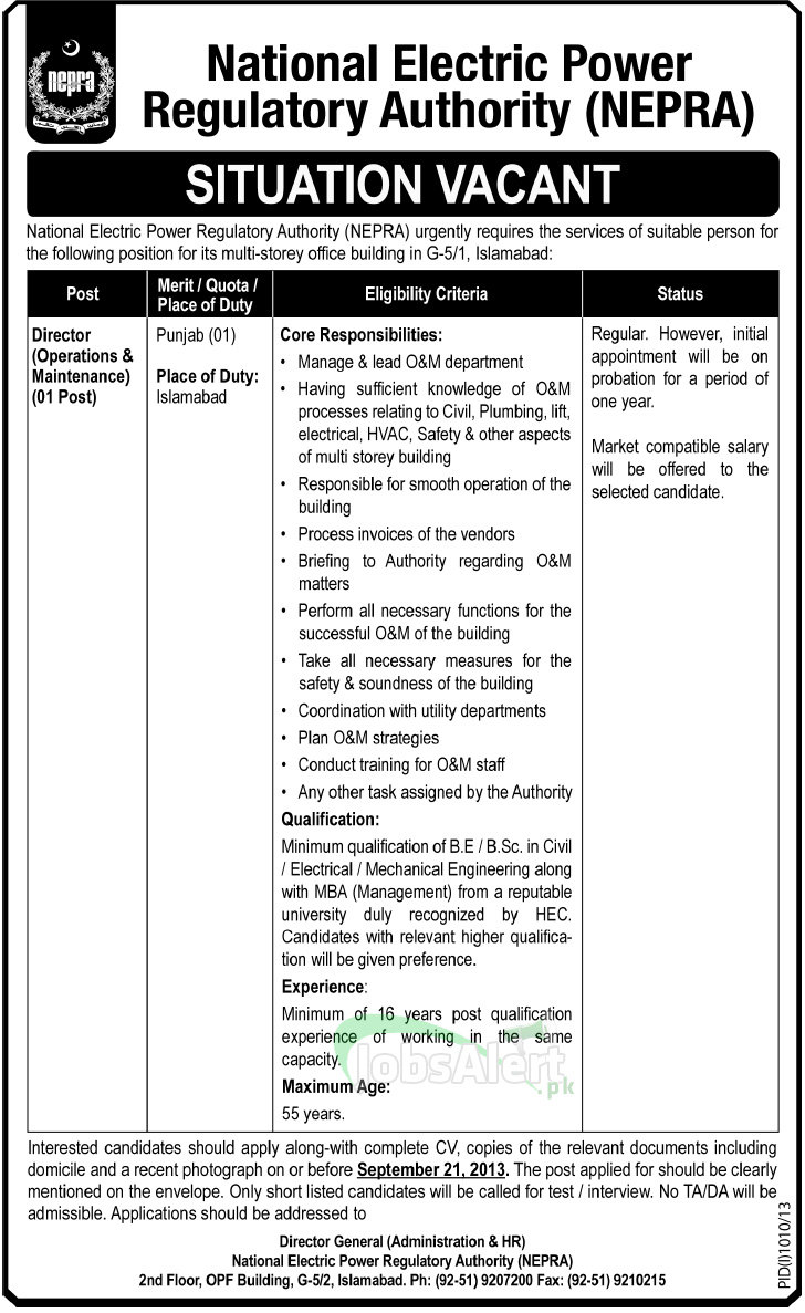 Director Jobs in Islamabad National Electric Power Regulatory Authority