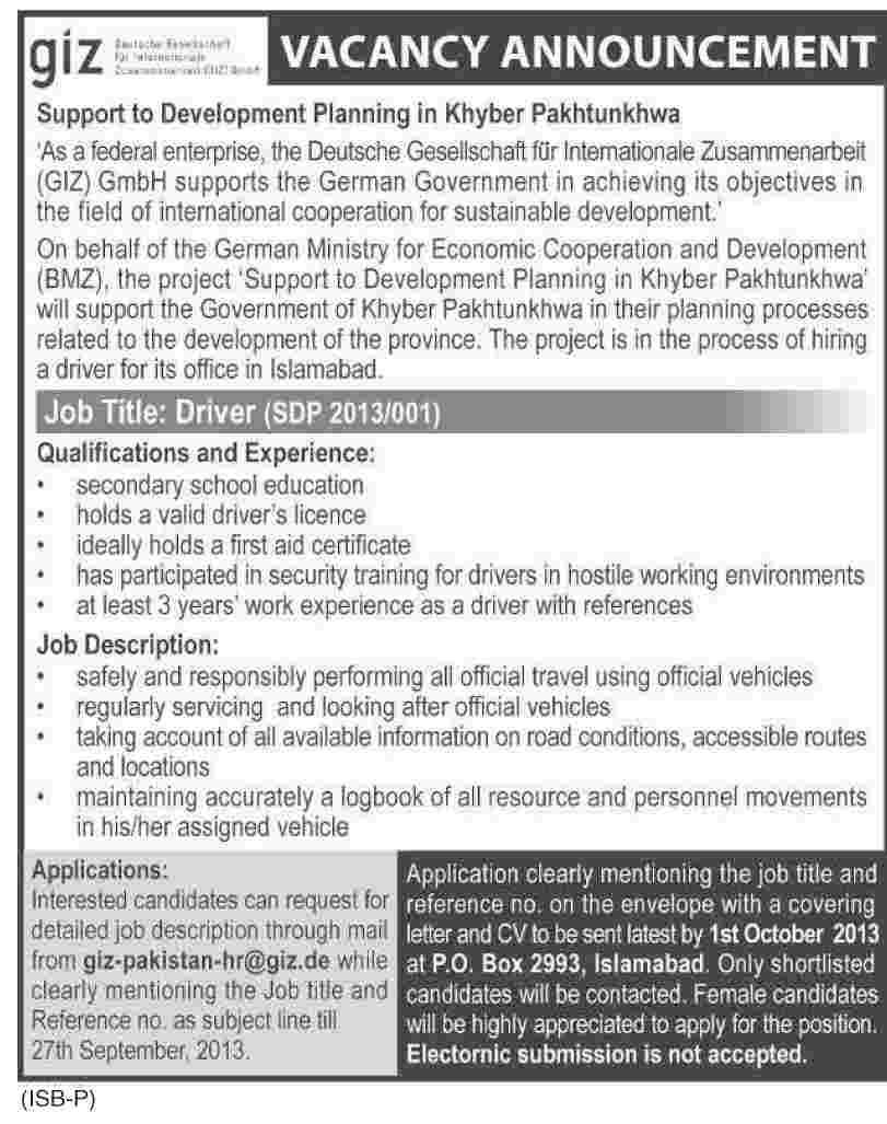 Driver Jobs in GIZ Islamabad