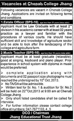 Estate Officer & Music Teacher Jobs in Chenab College Jhang