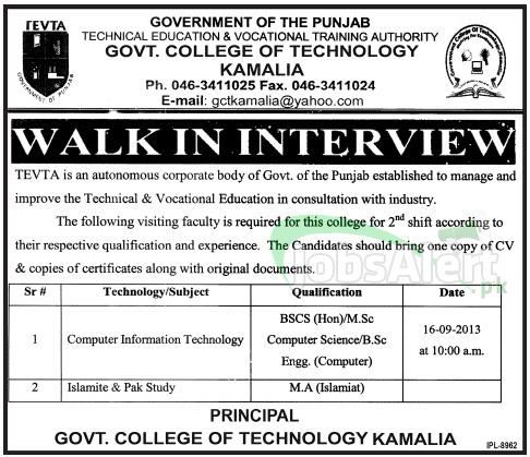 Govt College Teacher Jobs of Technology Kamalia