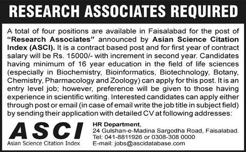 Jobs In Faisalabad of Research Associates in Asian Science Citation Index