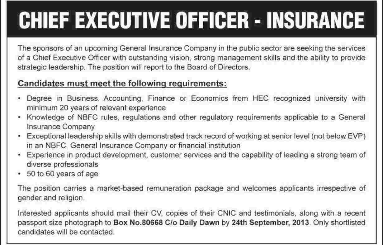 Jobs for Chief Executive in Insurance Company Karachi