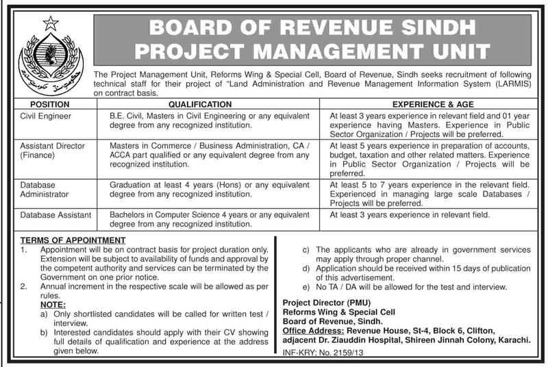 Jobs for Civil Engineer in Board of Revenue Sindh