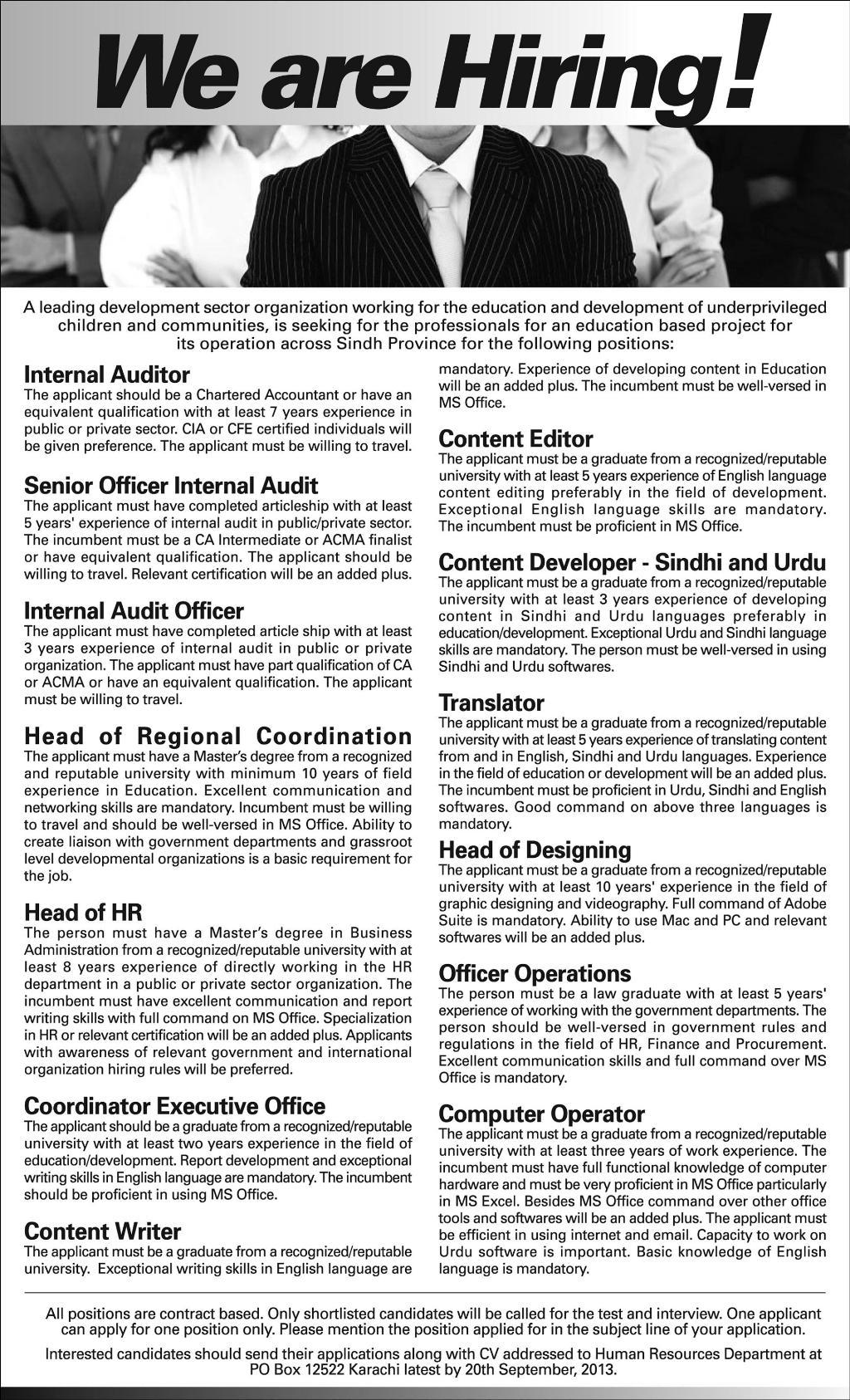 Jobs in Karachi of Auditor, Senior Officer Internal Auditor & Translator
