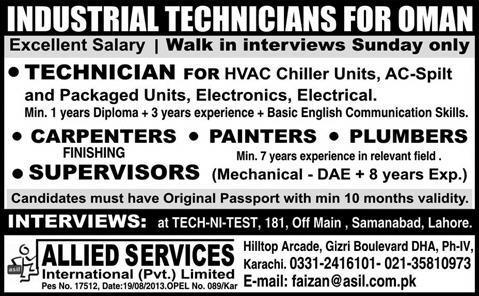 Jobs in Oman for Industrial Technician