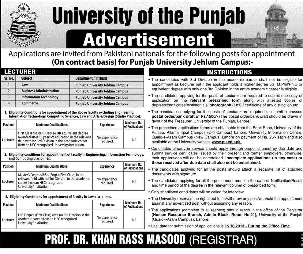 Lecturer Jobs in Punjab University Jehlum Campus