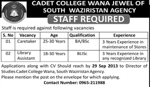 Library Assistant Jobs in Cadet College Waziristan Agency