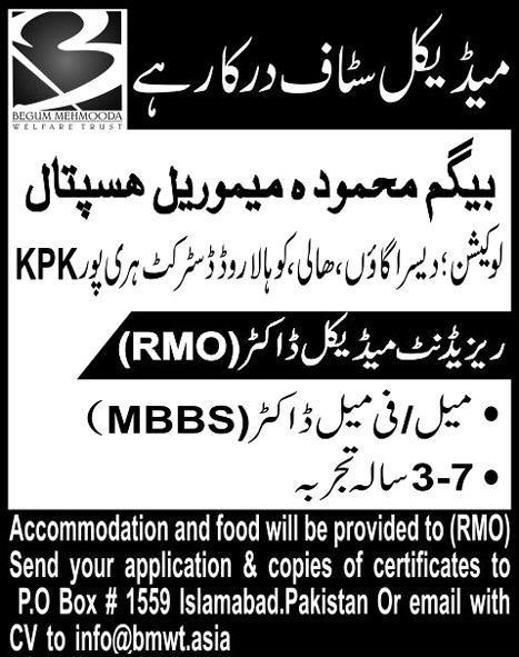 MBBS Doctor Jobs in Begum Mehmood Memorial Hospital KPK