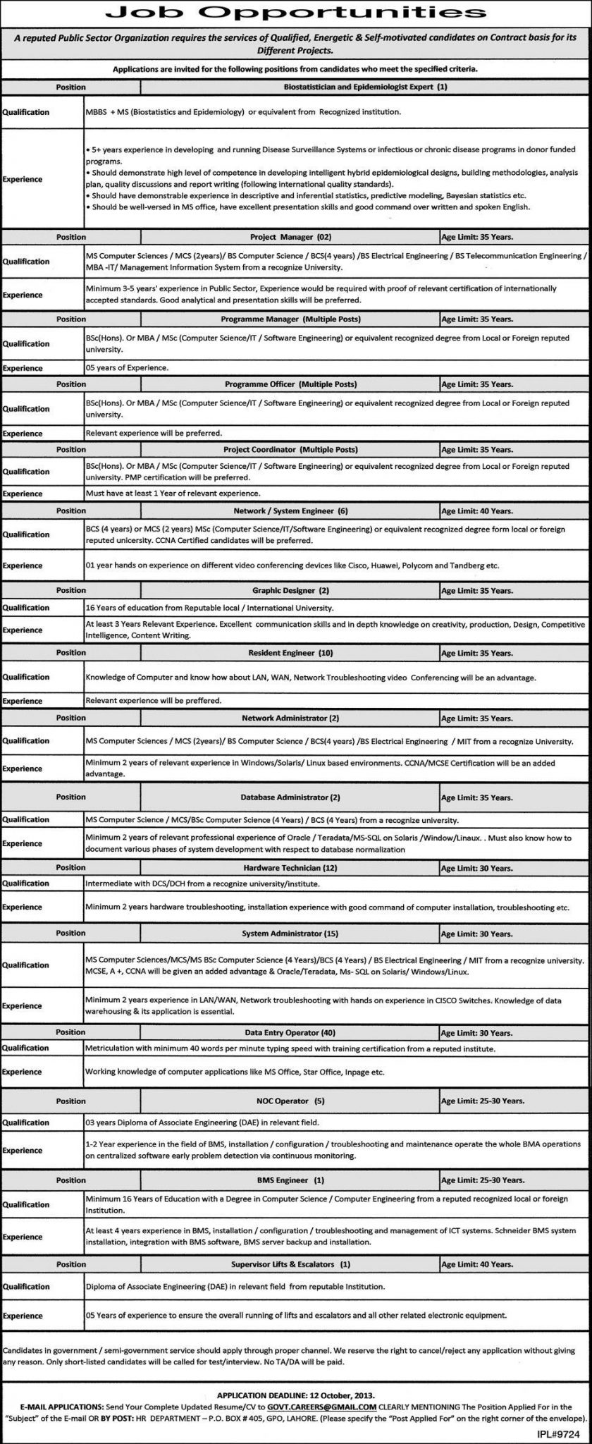 Project Manager & Coordinator Jobs in Public Sector Organization Lahore
