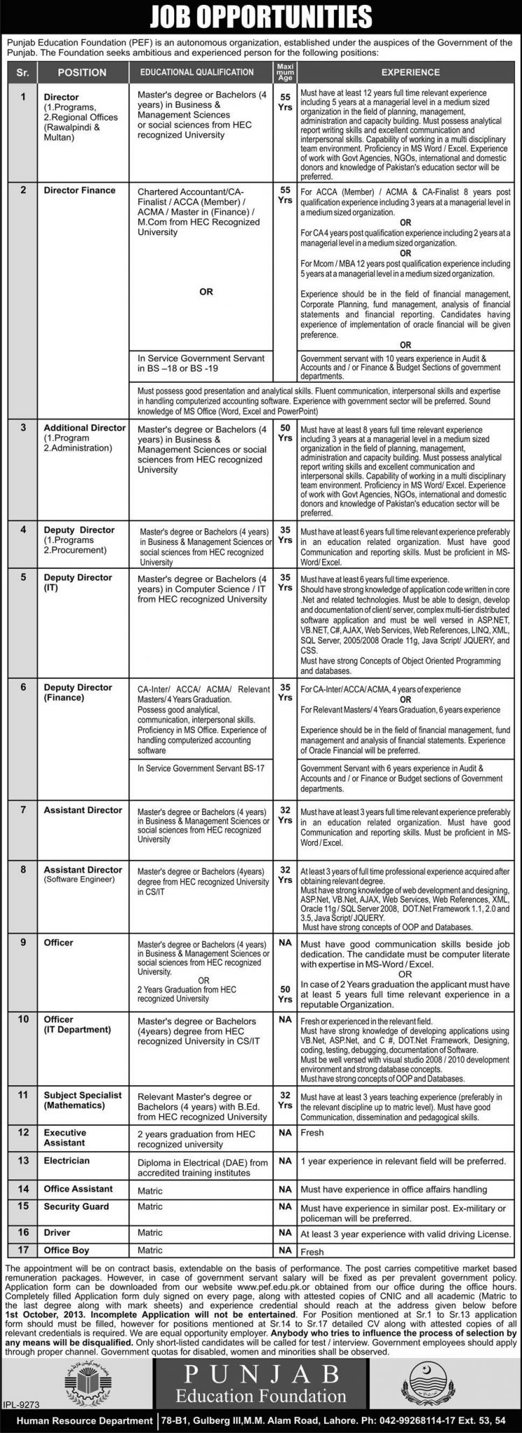 Punjab Education Foundation Jobs for Director & Assistant in Lahore