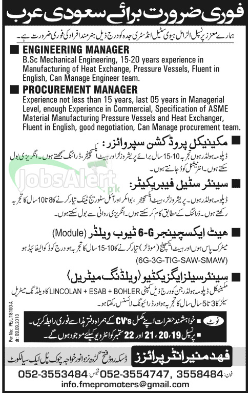 Saudi Arabia Jobs for Engineering and Procurement Manager