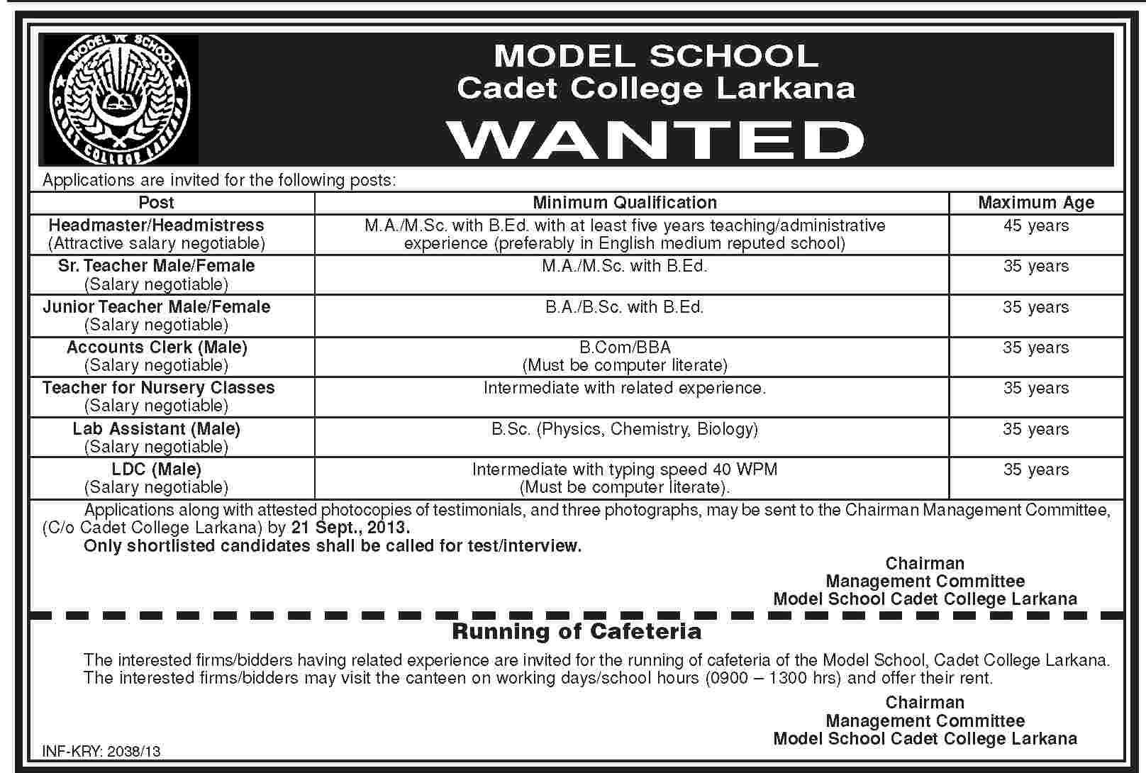 Teacher Jobs & others required for Model School Cadet College Larkana