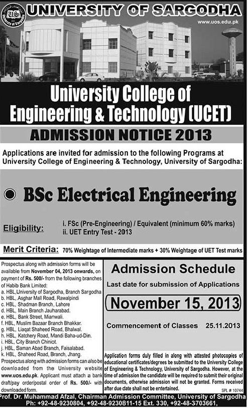BS Electrical Technology Admissions 2013 in UCET University of Sargodha