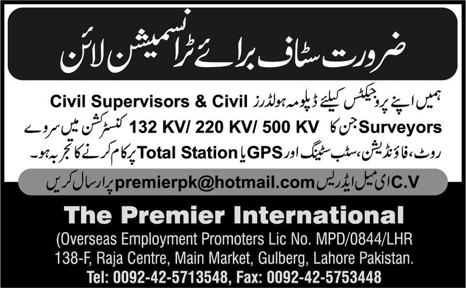 Civil Supervisor Jobs in Transmission Line Lahore