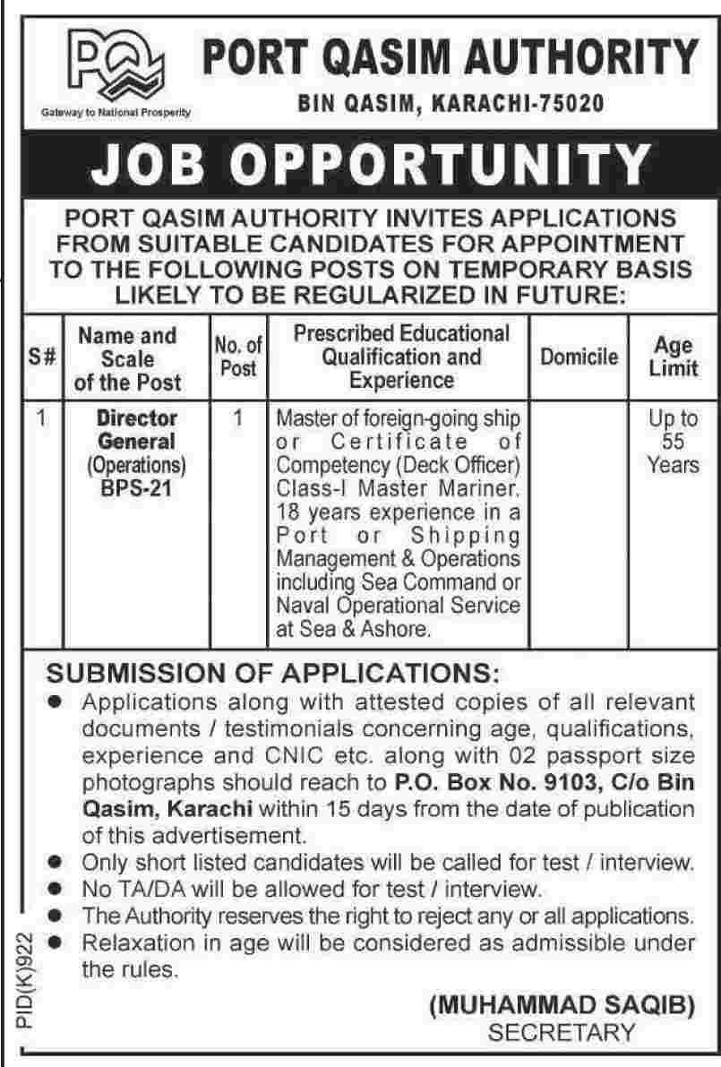 Director General Jobs in Port Qasim Authority Karachi
