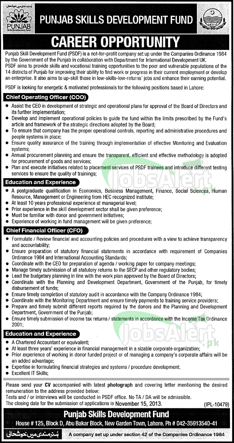 Jobs for CFO in Punjab Skills Development Fund, Lahore