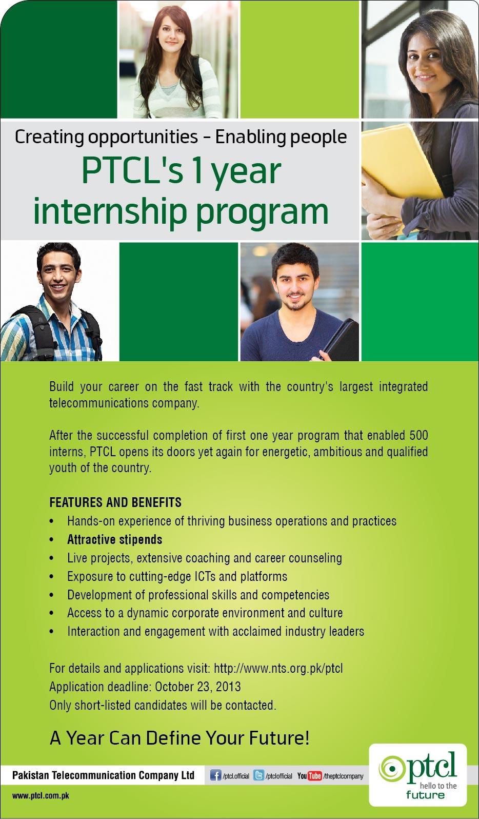 Jobs in PTCL 1 Year Internship Program 2013